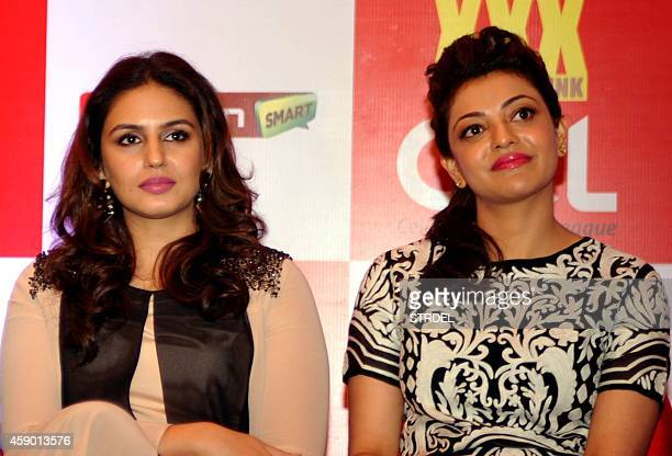 Indian Bollywood actresses Huma Qureshi and Kajal Aggarwal attend the launch for the fifth Celebrity Cricket League in Mumbai on November 14 2014 AFP...