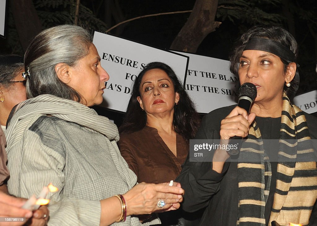 Indian Bollywood actresses Jaya Bachchan (L),Hema Malini (C) and Shabana Azmi (R) speak during a protest in Mumbai on December 29, 2012, after the death of a gang rape victim from the Indian capital New Delhi. Indian leaders appealed for calm and security forces headed off fresh unrest by turning New Delhi into a fortress after a student who was savagely gang-raped died in a Singapore hospital. Police threw a ring of steel around the centre of the Indian capital after news of the 23-year-old medical student's death was broken in the early hours by the Singapore hospital that had been treating her for the last two days.