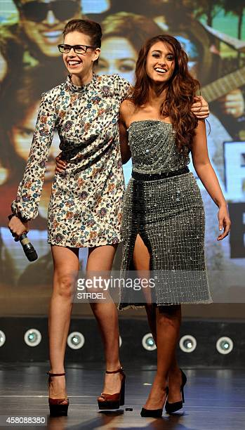 Indian Bollywood actresses Kalki Koechlin and Ileana D'Cruz during the music launch of the upcoming Hindi film Happy Ending in Mumbai on October 29...