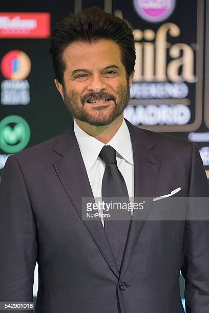 Indian Bollywood Anil Kapoor poses on the green carpet as she arrives to the 17th edition of IIFA Awards in Madrid on June 24 2016