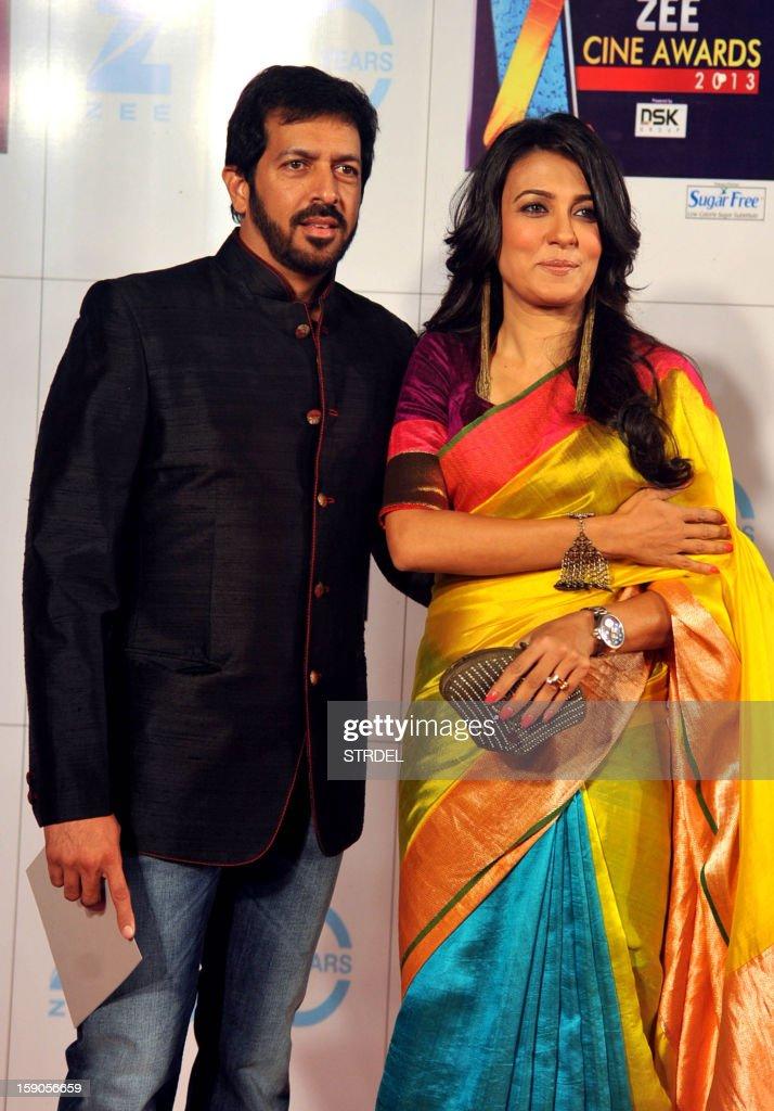 Indian Bollywood director Kabir Khan with wife Mini Mathur attend the Zee Cine Awards 2013 ceremony in Mumbai on January 6, 2013.