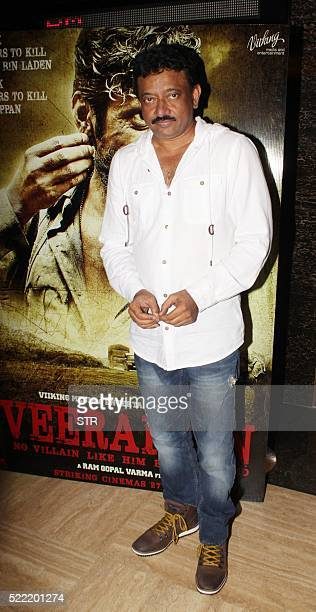 Indian Bollywood director Ram Gopal Varma poses at the trailer launch of the forthcoming Hindi version Indian biographical film Veerappan in Mumbai...