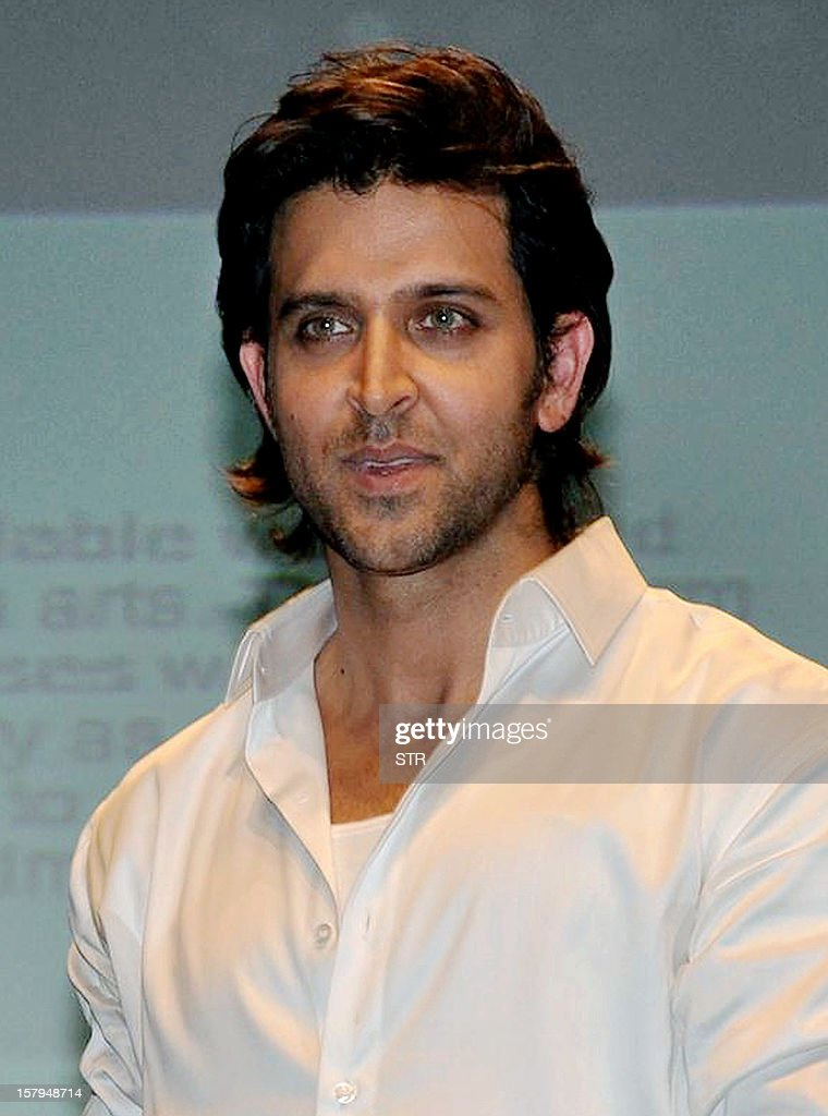 Indian Bollywood film actor Hirthik Roshan poses during the launch of India First Online Film Making Course at WWI Virtual Academy in Mumbai on December 7, 2012.