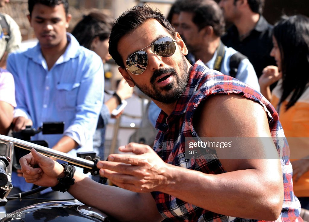Indian Bollywood film actor John Abraham poses on location during the shooting of the upcoming Hindi film 'I Me Aur Main' song directed by debutant Kapil Sharma at Kamalistan Studio in Mumbai on January 18, 2013. AFP PHOTO
