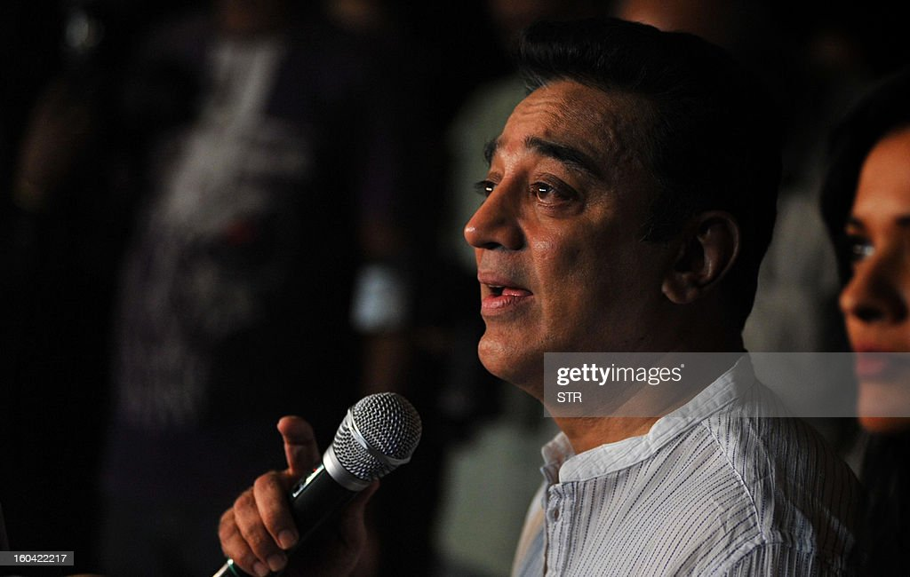 Indian Bollywood film actor producer and director Kamal Haasan addresses a press conference about the controversy regarding his new film...