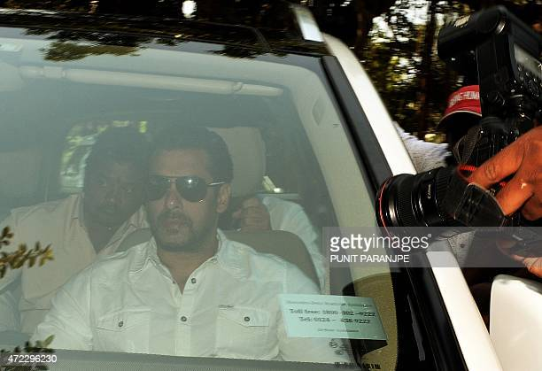 Indian Bollywood film actor Salman Khan arrives in a car to appear at the sessions court in Mumbai on May 6 2015 An Indian judge convicted Bollywood...