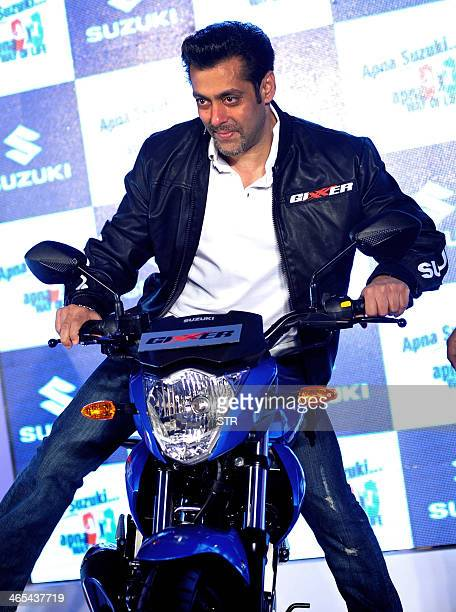 Indian Bollywood film actor Salman Khan poses during the launch of the new Suzuki 'Gixxer' motorcycle in Mumbai on January 27 2014 AFP PHOTO