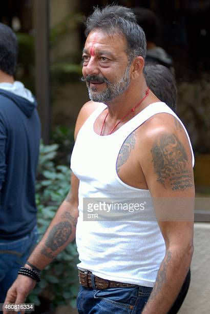 Indian Bollywood film actor Sanjay Dutt arrives at his residence Imperial Heights Pali Hill Bandra in Mumbai after being granted a 14day furlough on...
