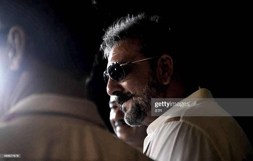 Indian Bollywood film actor <a gi-track='captionPersonalityLinkClicked' href=/galleries/search?phrase=Sanjay+Dutt&family=editorial&specificpeople=1541020 ng-click='$event.stopPropagation()'>Sanjay Dutt</a> attends the special screening of Hindi film 'PK' in Mumbai on December 25, 2014.