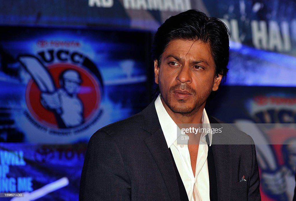 Indian Bollywood film actor Shah Rukh Khan poses during the launch of the first 'Toyota University Cricket Championship' (TUCC) in Mumbai on January 17, 2013. AFP PHOTO
