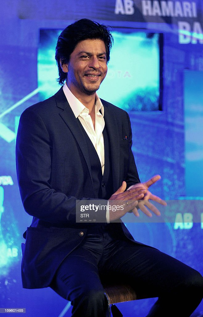 Indian Bollywood film actor Shah Rukh Khan poses during the launch of the first 'Toyota University Cricket Championship' (TUCC) in Mumbai on January 17, 2013.