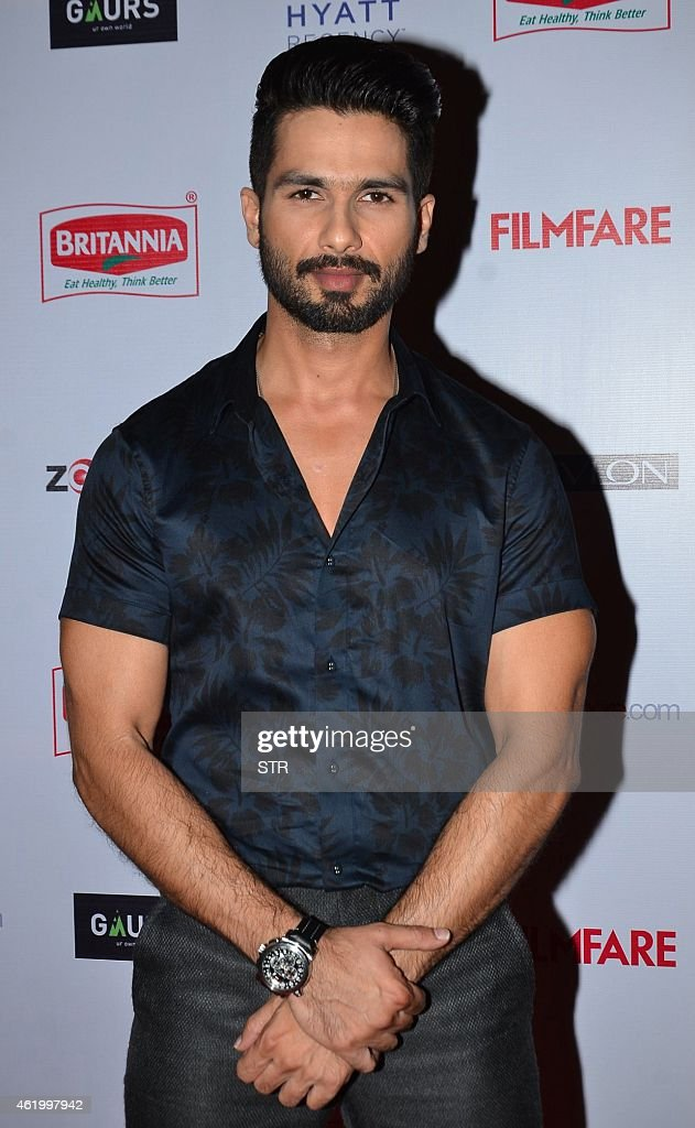 Indian Bollywood film actor Shahid Kapoor poses at the 60th Britannia 'Filmfare Awards 2014' Pre-Awards Party in Mumbai on January 22, 2015.