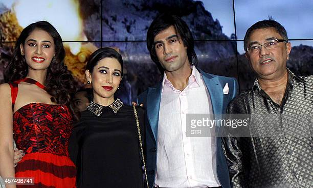 Indian Bollywood film actors Hasleen Kaur Karisma Kapoor Shiv Darshan and producer Suneel Darshan attend the music launch of upcoming Hindi film...