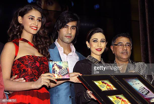 Indian Bollywood film actors Hasleen Kaur Shiv Darshan Karisma Kapoor and producer Suneel Darshan attend the music launch of upcoming Hindi film...