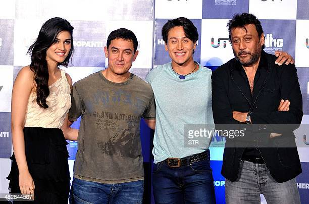 Indian Bollywood film actors Kriti Sanon Amir Khan Tiger Shroff and Jackie Schroff pose during the launch of the trailer of the upcoming Hindi film...