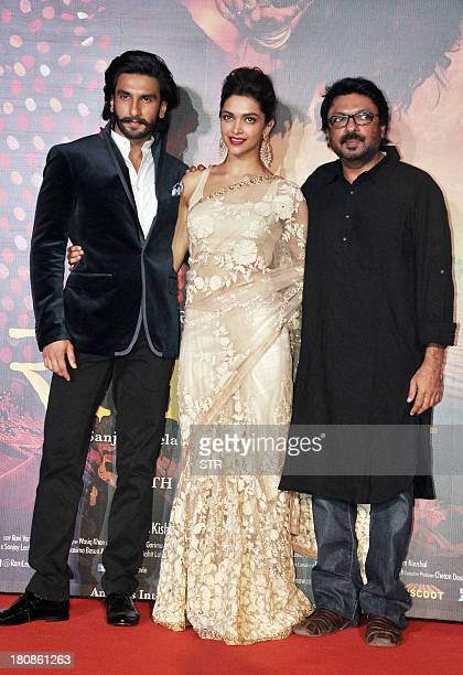 Indian Bollywood film actors Ranveer Singh and Deepika Padukone attend their first look trailer launch of the upcoming romanticdrama Hindi film 'Ram...