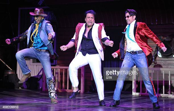 Indian Bollywood film actors Ranveer Singh Govinda and Ali Zafar perform during the promotion of the upcoming Hindi film 'Kill/Dil' directed by Shaad...