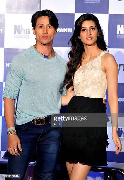 Indian Bollywood film actors Tiger Shroff and Kriti Sanon pose during the launch of the trailer of the upcoming Hindi film 'Heropanti' directed by...