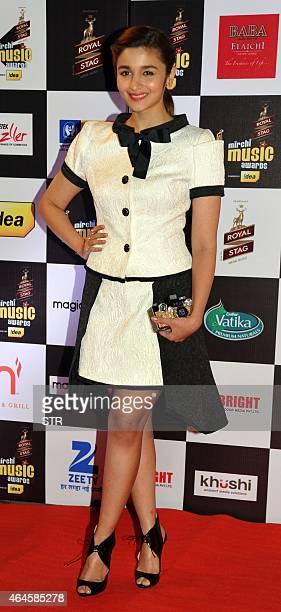 Indian Bollywood film actress Alia Bhatt attends the 'Mirchi Music Awards 2015' ceremony in Mumbai on February 26 2015 AFP PHOTO