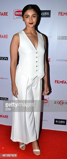 Indian Bollywood film actress Alia Bhatt poses at the 60th Britannia 'Filmfare Awards 2014' PreAwards Party in Mumbai on January 22 2015 AFP PHOTO
