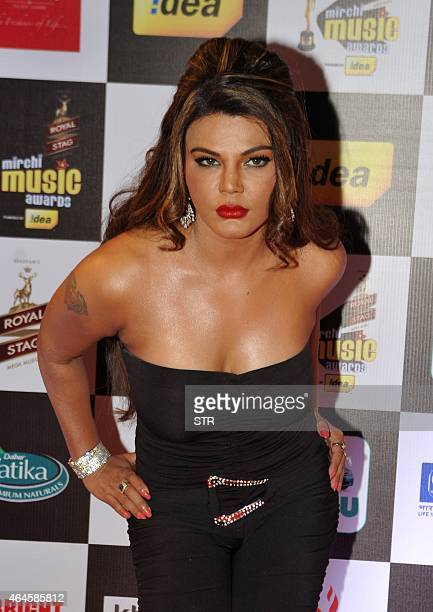 Indian Bollywood film actress and politician Rakhi Sawant attends the 'Mirchi Music Awards 2015' ceremony in Mumbai on February 26 2015 AFP PHOTO