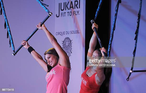 Indian Bollywood film actress Bipasha Basu demonstrates Jukari an innovative gym workout for women in New Delhi on July 1 2009 Reebok in partnership...