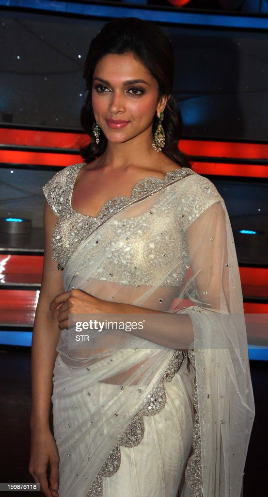 Indian Bollywood film actress Deepika Padukone poses during a promotional event on the set of the television dance show 'Nach Baliye 5' in Mumbai on January 22, 2013.