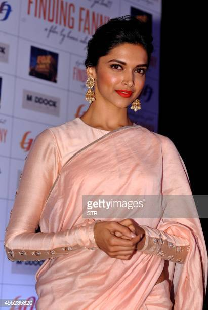 Indian Bollywood film actress Deepika Padukone poses during the promotion of the English/Hindi film 'Finding Fanny' in Mumbai on September 10 2014...