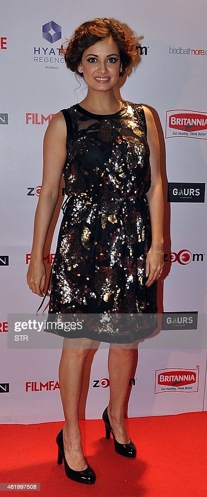 Indian Bollywood film actress <a gi-track='captionPersonalityLinkClicked' href=/galleries/search?phrase=Dia+Mirza&family=editorial&specificpeople=696826 ng-click='$event.stopPropagation()'>Dia Mirza</a> poses at the 60th Britannia 'Filmfare Awards 2014' Pre-Awards Party in Mumbai on January 22, 2015.