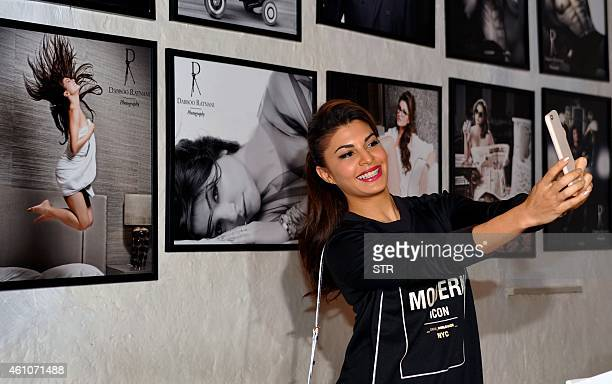 Indian Bollywood film actress Jacqueline Fernandez poses during the launch of Daboo Ratnani's Celebrity Calendar 2015 in Mumbai on January 5 2015 AFP...