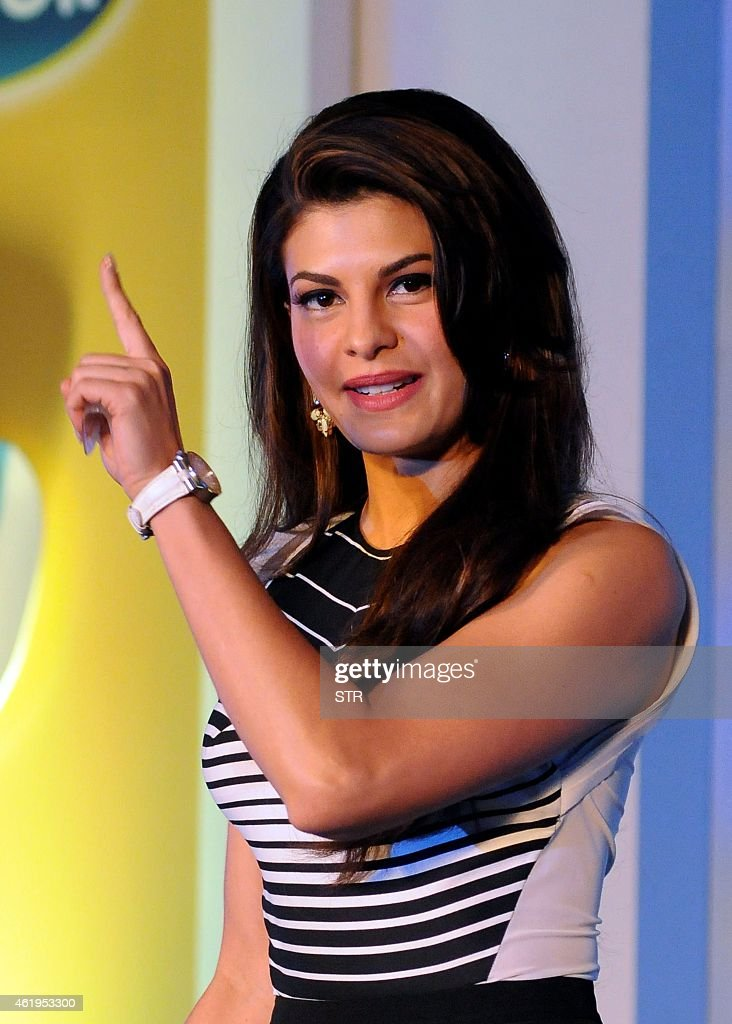 Indian Bollywood film actress <a gi-track='captionPersonalityLinkClicked' href=/galleries/search?phrase=Jacqueline+Fernandez&family=editorial&specificpeople=5749256 ng-click='$event.stopPropagation()'>Jacqueline Fernandez</a> poses during the launch of Scholl's latest innovation in foot care in Mumbai on January 22, 2015. AFP PHOTO