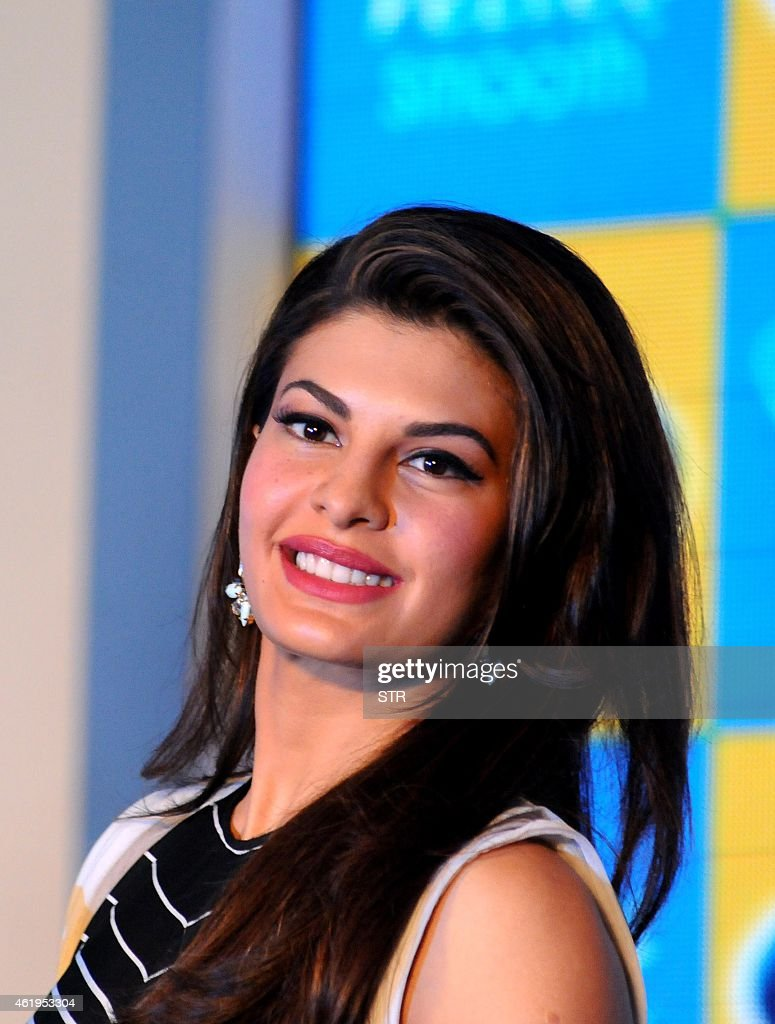 Indian Bollywood film actress <a gi-track='captionPersonalityLinkClicked' href=/galleries/search?phrase=Jacqueline+Fernandez&family=editorial&specificpeople=5749256 ng-click='$event.stopPropagation()'>Jacqueline Fernandez</a> poses during the launch of Scholl's latest innovation in foot care in Mumbai on January 22, 2015.