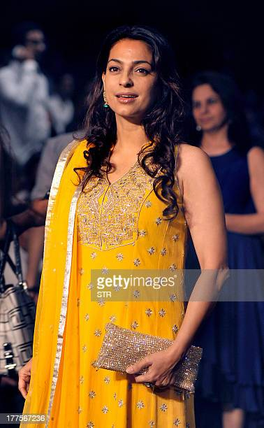 Indian Bollywood film actress Juhi Chawla attends the Lakme Fashion Week Winter/Festival 2013 in Mumbai on August 23 2013 AFP PHOTO