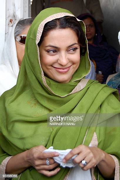 Indian Bollywood film actress Juhi Chawla pays her respects at the Sikh Shrine Golden Temple in Amritsar on November 30 2009 Juhi Chawla is in the...