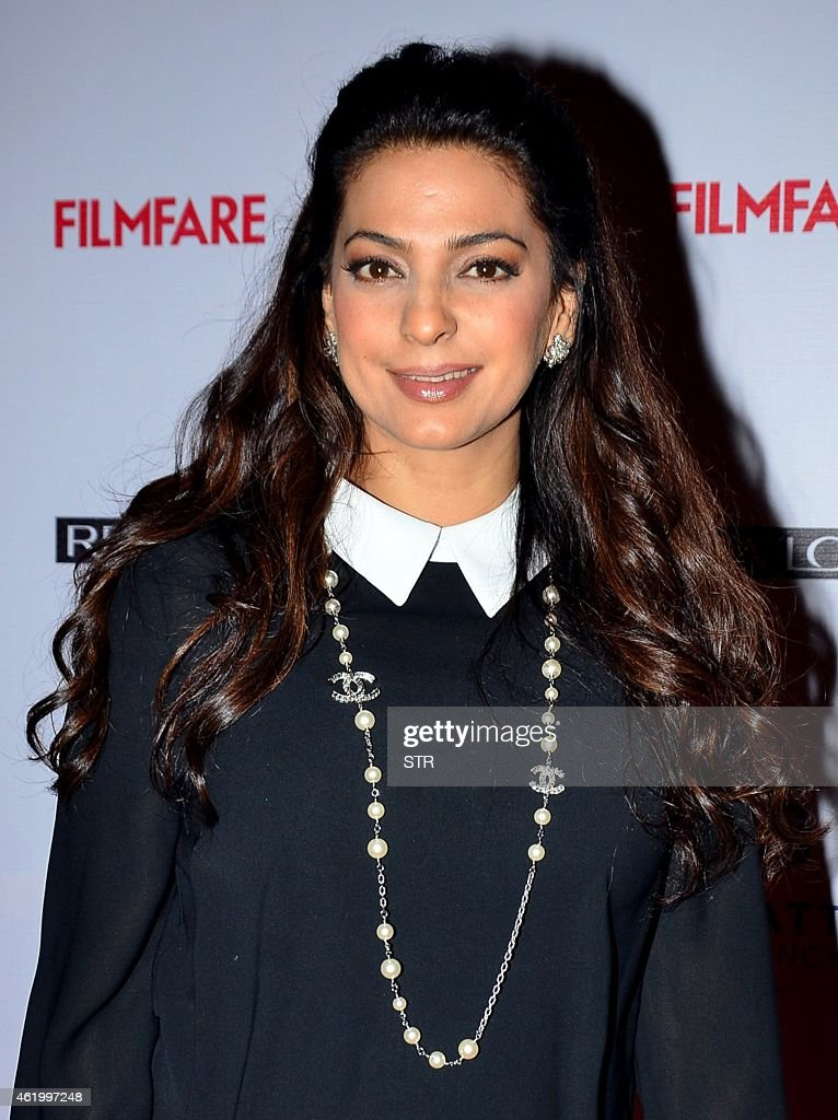 Indian Bollywood film actress <a gi-track='captionPersonalityLinkClicked' href=/galleries/search?phrase=Juhi+Chawla&family=editorial&specificpeople=2849898 ng-click='$event.stopPropagation()'>Juhi Chawla</a> poses at the 60th Britannia 'Filmfare Awards 2014' Pre-Awards Party in Mumbai on January 22, 2015.