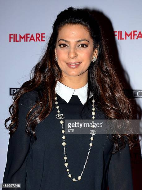 Indian Bollywood film actress Juhi Chawla poses at the 60th Britannia 'Filmfare Awards 2014' PreAwards Party in Mumbai on January 22 2015 AFP PHOTO