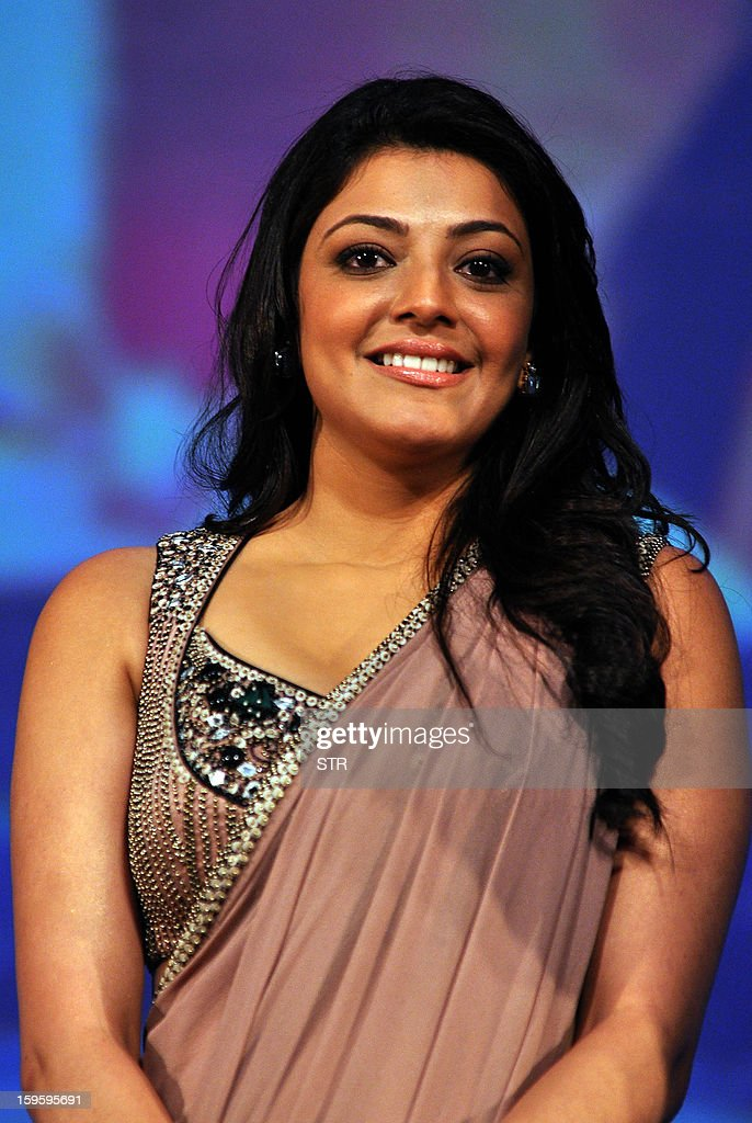 Indian Bollywood film actress Kajal Aggarwal poses during ...