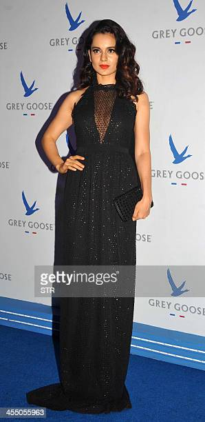 Indian Bollywood film actress Kangana Ranaut poses during the 'Grey Goose Style Du Jour' SpringSummer collection fashion show in Mumbai on December...
