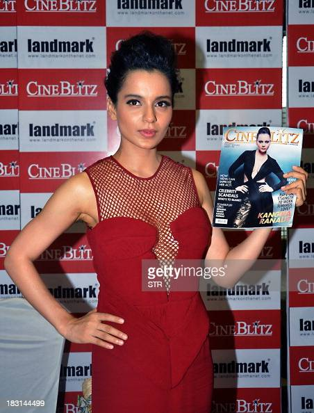 Indian Bollywood film actress Kangana Ranaut poses during the launch of magazine CineBlitz cover page in Mumbai on October 4 2013 AFP PHOTO