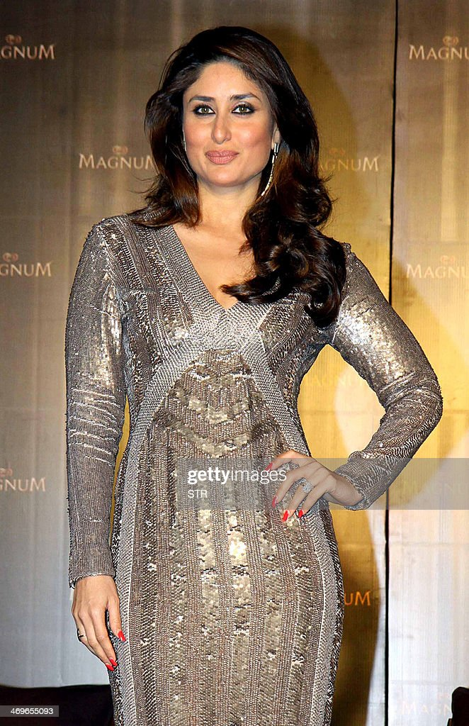 Indian Bollywood film actress <a gi-track='captionPersonalityLinkClicked' href=/galleries/search?phrase=Kareena+Kapoor&family=editorial&specificpeople=855270 ng-click='$event.stopPropagation()'>Kareena Kapoor</a> poses as new brand ambassador for Magnum ice cream in Mumbai on February 15, 2014.