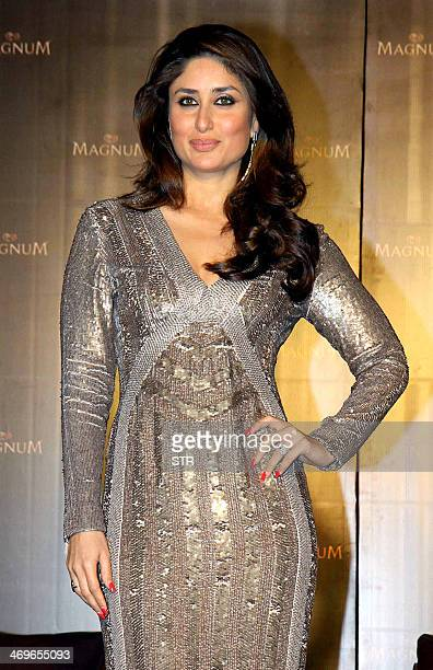 Indian Bollywood film actress Kareena Kapoor poses as new brand ambassador for Magnum ice cream in Mumbai on February 15 2014 AFP PHOTO