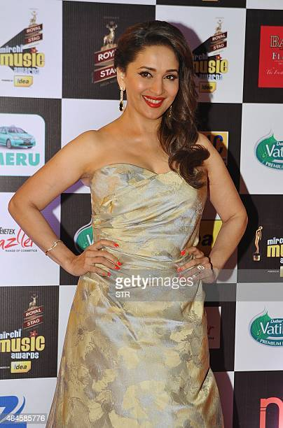 Indian Bollywood film actress Madhuri Dixit Nene attends the 'Mirchi Music Awards 2015' ceremony in Mumbai on February 26 2015 AFP PHOTO