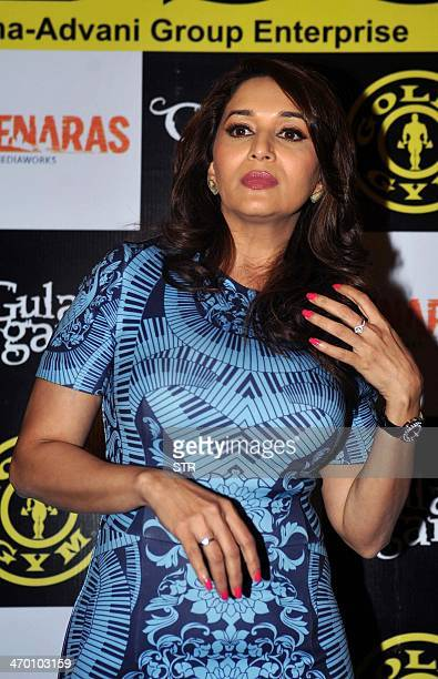 Indian Bollywood film actress Madhuri Dixit Nene poses during the promotion of upcoming Hindi Film 'Gulaabi Geng' in Mumbai on February 18 2014 AFP...