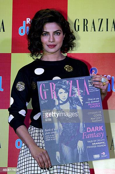 Indian Bollywood film actress Priyanka Chopra poses during the launch of the latest Grazia magazine cover in Mumbai on December 17 2014 AFP PHOTO