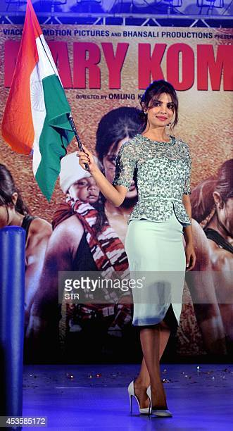 Indian Bollywood film actress Priyanka Chopra poses during the music launch of the upcoming Indian biographical sports drama Hindi film 'MARY KOM'...