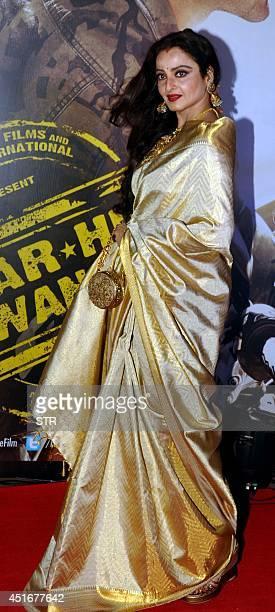 Indian Bollywood film actress Rekha attends the premier of Hindi film 'Lekar Hum Deewana Dil' in Mumbai on July 3 2014 AFP PHOTO