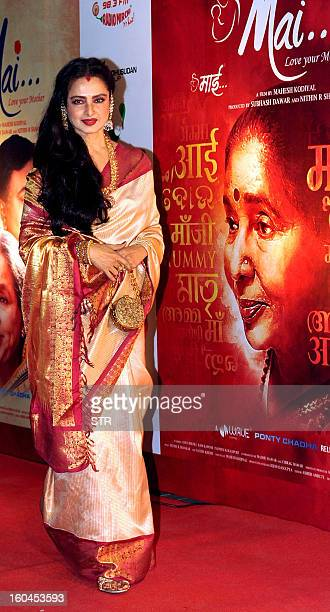 Indian Bollywood film actress Rekha poses at the premier of the Hindi film 'Mai' in Mumbai on January 31 2013 AFP PHOTO