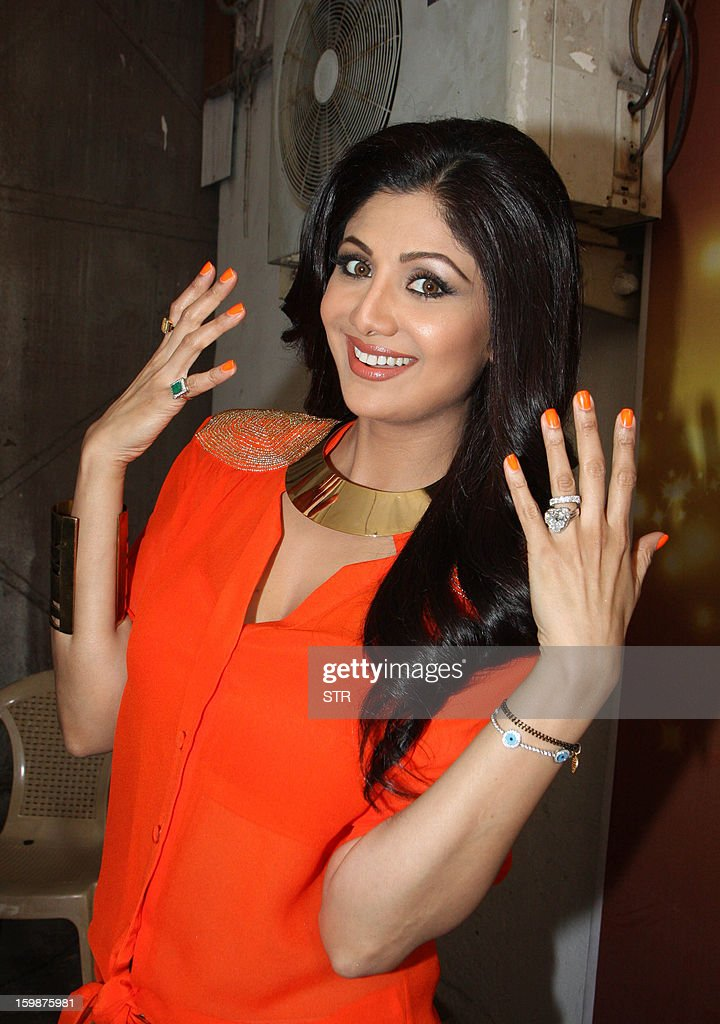 Indian Bollywood film actress Shilpa Shetty poses during a promotional event on the set of the television dance show 'Nach Baliye 5' in Mumbai on January 22, 2013.