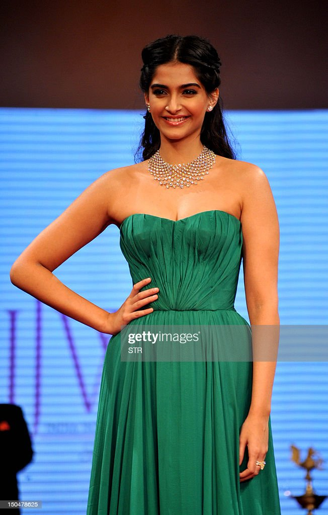 Indian Bollywood film actress Sonam Kapoor launches the First Day of India International Jewellery Week 2012 (IIJW) in Mumbai on August 19, 2012.
