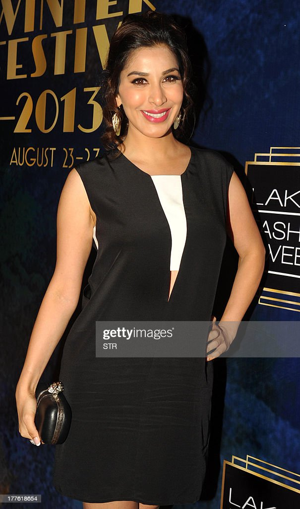 Indian Bollywood film actress <a gi-track='captionPersonalityLinkClicked' href=/galleries/search?phrase=Sophie+Choudry&family=editorial&specificpeople=6598413 ng-click='$event.stopPropagation()'>Sophie Choudry</a> attends the Lakme Fashion Week (LFW) Winter/Festival 2013 in Mumbai on August 24, 2013.